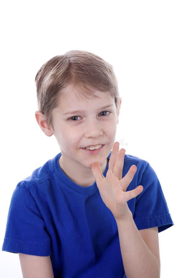 Kind dat Mamma ondertekent royalty-vrije stock foto