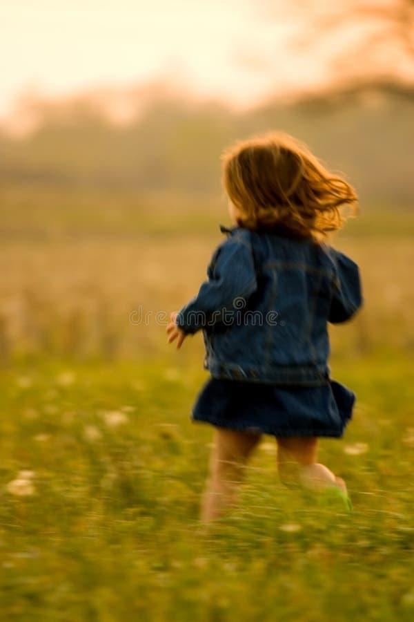 Kind dat op gebied bij Zonsondergang loopt royalty-vrije stock foto's