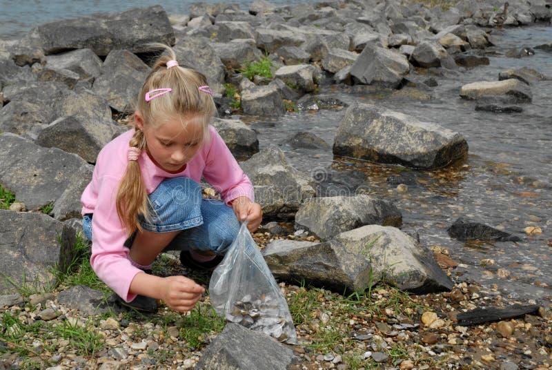 Kind dat zeeschelpen zoekt royalty-vrije stock afbeelding