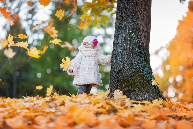 Kind in de tijd van de herfst stock foto's