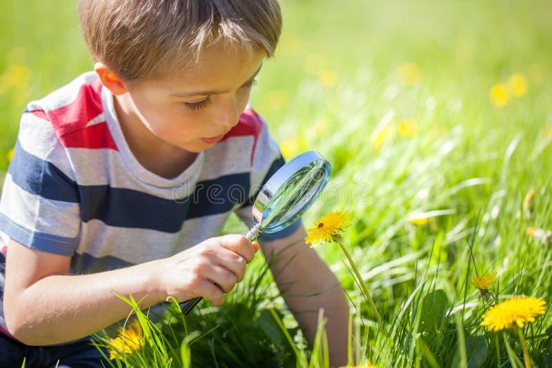 Kind die Aard onderzoeken stock foto