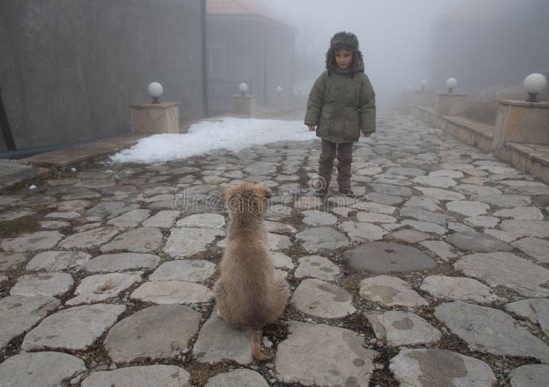Kind die de hond van het straathondpuppy in mistige dag bekijken mooie leuke scène royalty-vrije stock afbeeldingen