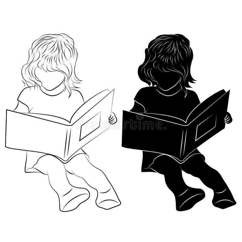 Kind die een boek lezen vector illustratie
