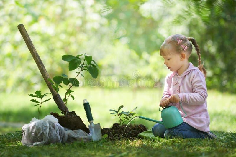 Kind die een kleine boom water geven