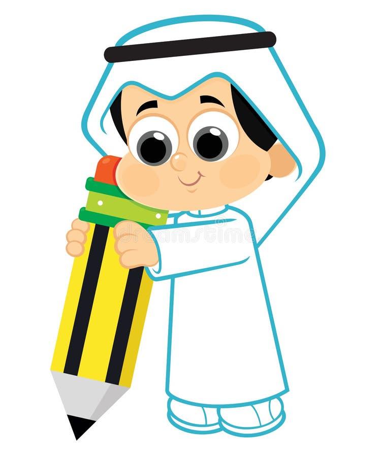 Kind die een potlood houden stock illustratie