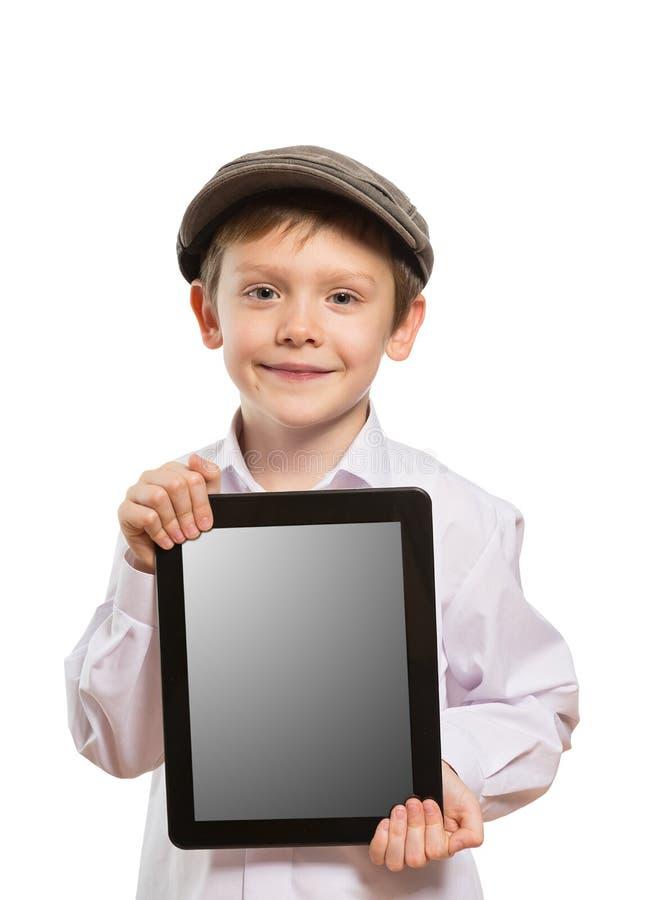 Kind die een tabletpc met behulp van royalty-vrije stock foto's