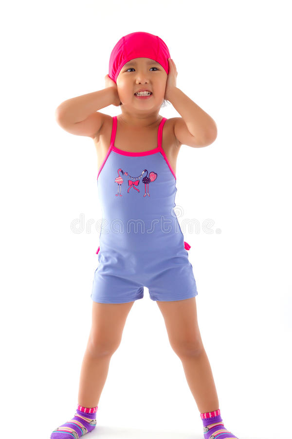 Kind die haar oren sluiten royalty-vrije stock foto
