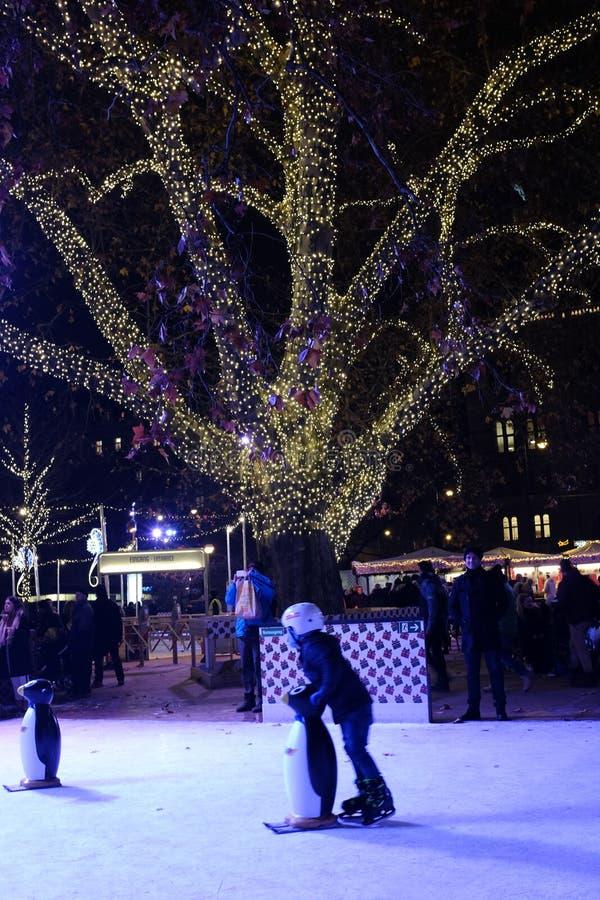 Kind die in het Rathaus-park, Wenen schaatsen stock foto's
