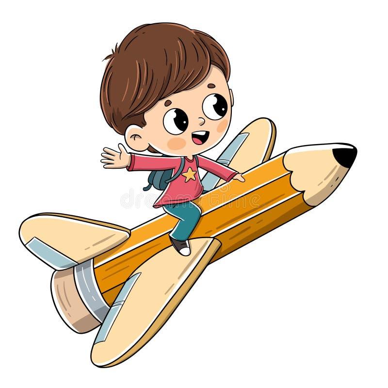 Kind die op een potlood met vleugels vliegen vector illustratie