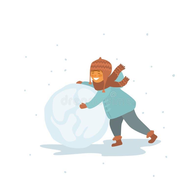 Kind die tot een sneeuwbal maken geïsoleerde vector grafische illustratie stock illustratie