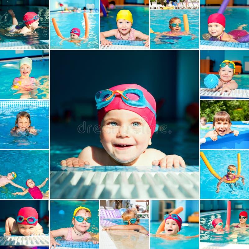 Kind in een zwembadreeks royalty-vrije stock foto's