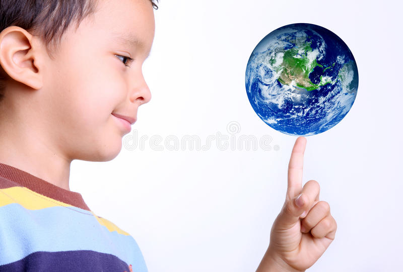 Kind en aarde royalty-vrije stock fotografie