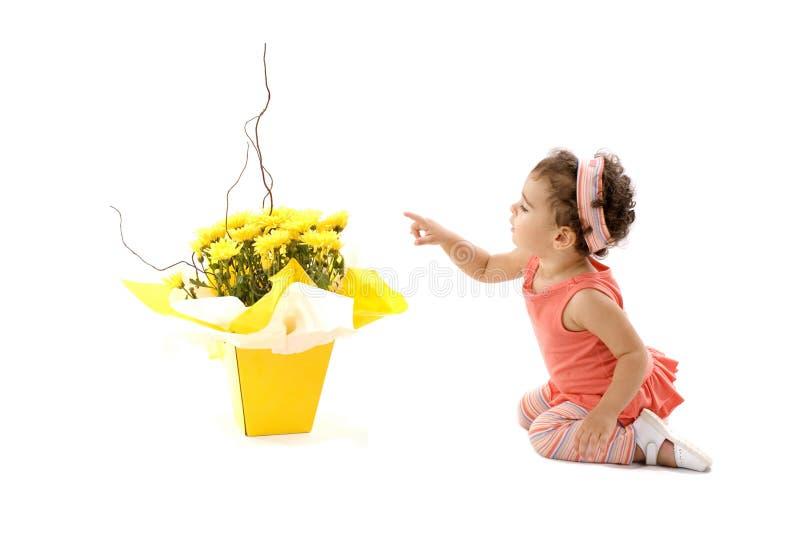 Kind en Bloem royalty-vrije stock afbeeldingen
