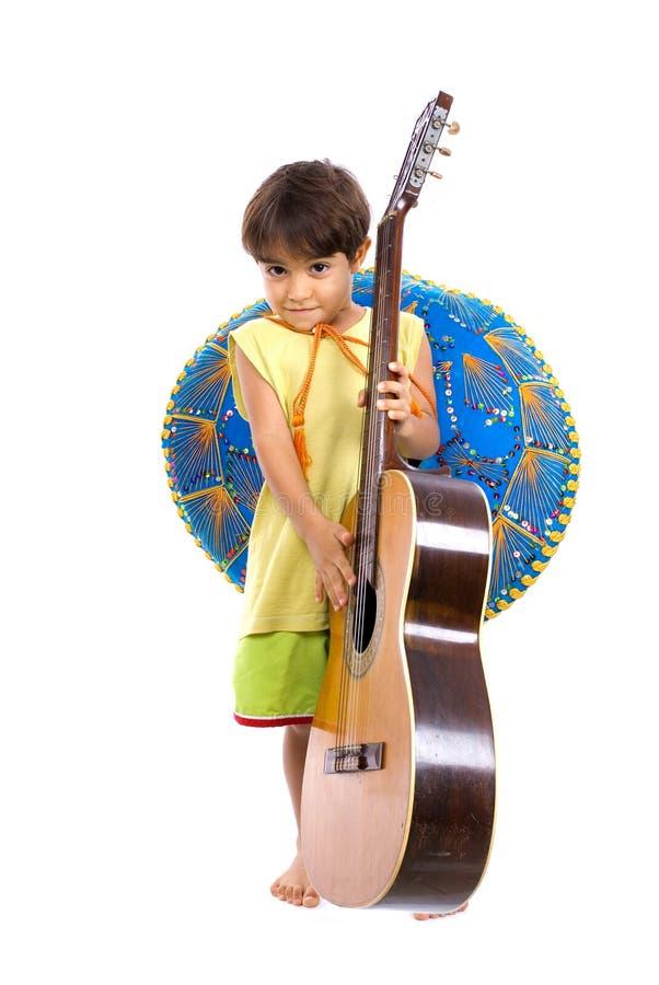 Kind en Gitaar stock afbeeldingen