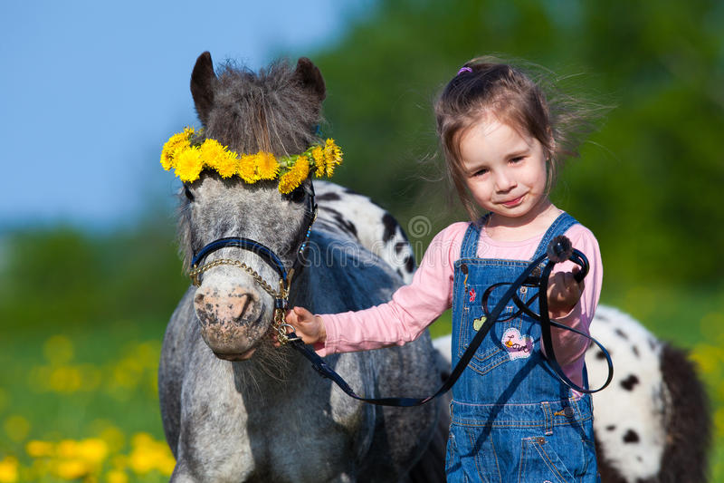 Kind en klein paard op gebied royalty-vrije stock afbeelding
