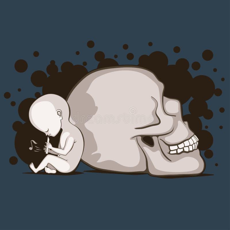 Kind en schedel royalty-vrije illustratie