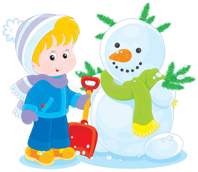 Kind en sneeuwman stock illustratie
