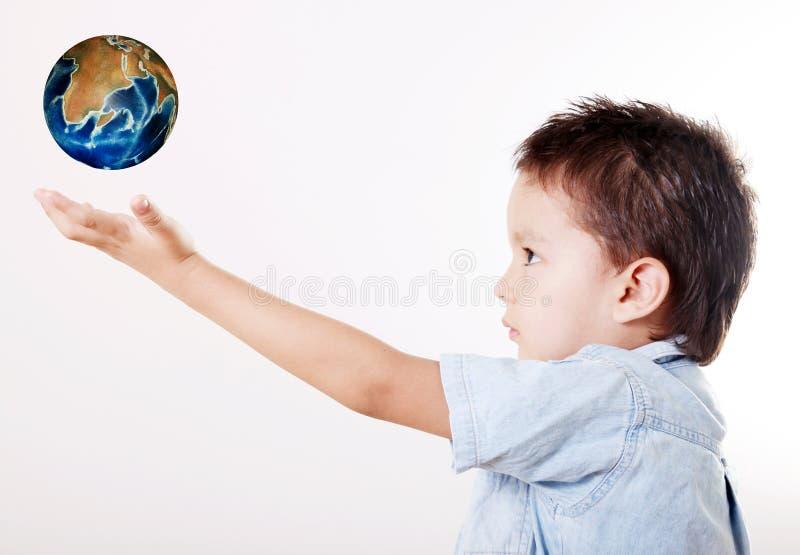 Kind en wereld stock fotografie