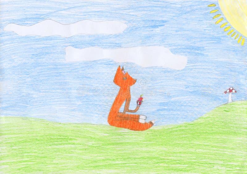 Kind farbige Bleistift-Zeichnung eines Fuchses, der ein Muffin isst vektor abbildung