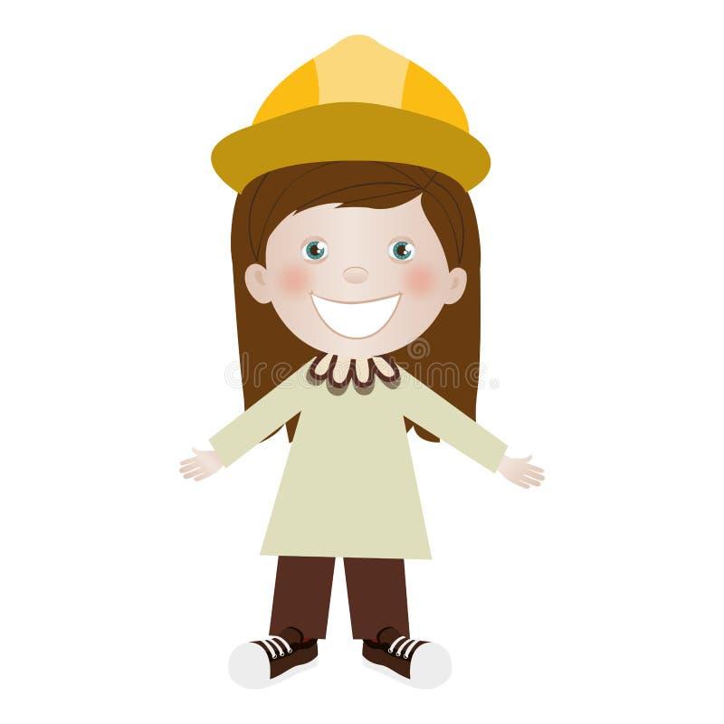 Kind gekleidet als Ingenieurikonenbild stock abbildung