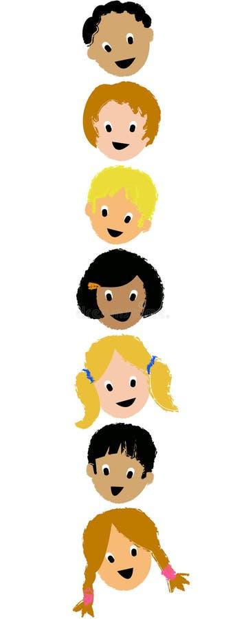 Kind-Gesichter Vertical/ai stock abbildung