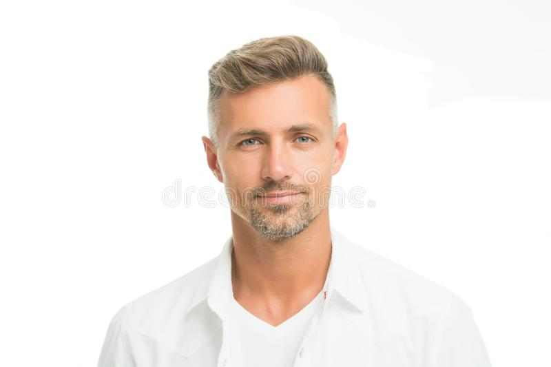 Kind glance. Male natural beauty. Man attractive well groomed facial hair. Barber shop concept. Barber hairdresser. Man stock photography