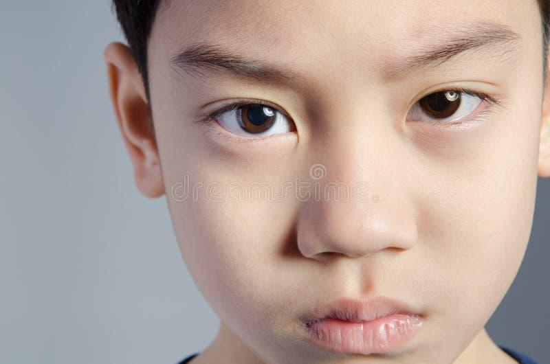 Kind Grappig weinig jongen Knappe Jongen met zwarte Ogen royalty-vrije stock afbeeldingen