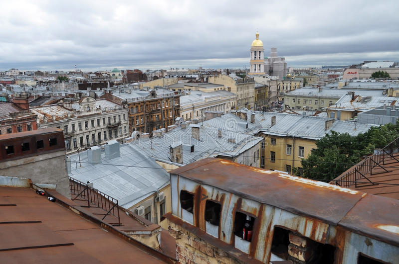 Kind from height on an old part of the city of St.-Petersburg. Russia stock images