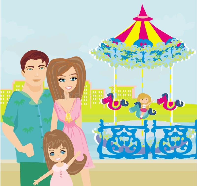 Kind het spelen op de carrousel vector illustratie