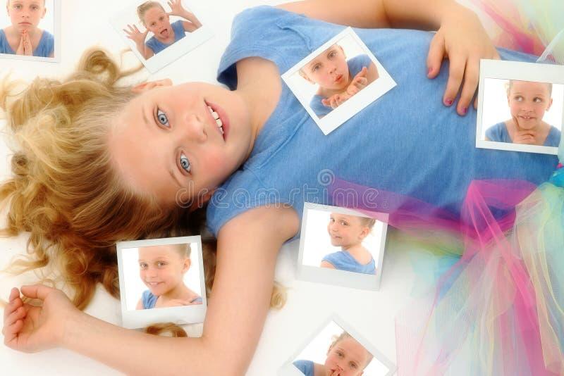 Kind im Ballettröckchen mit Selbst Portrats stockfoto