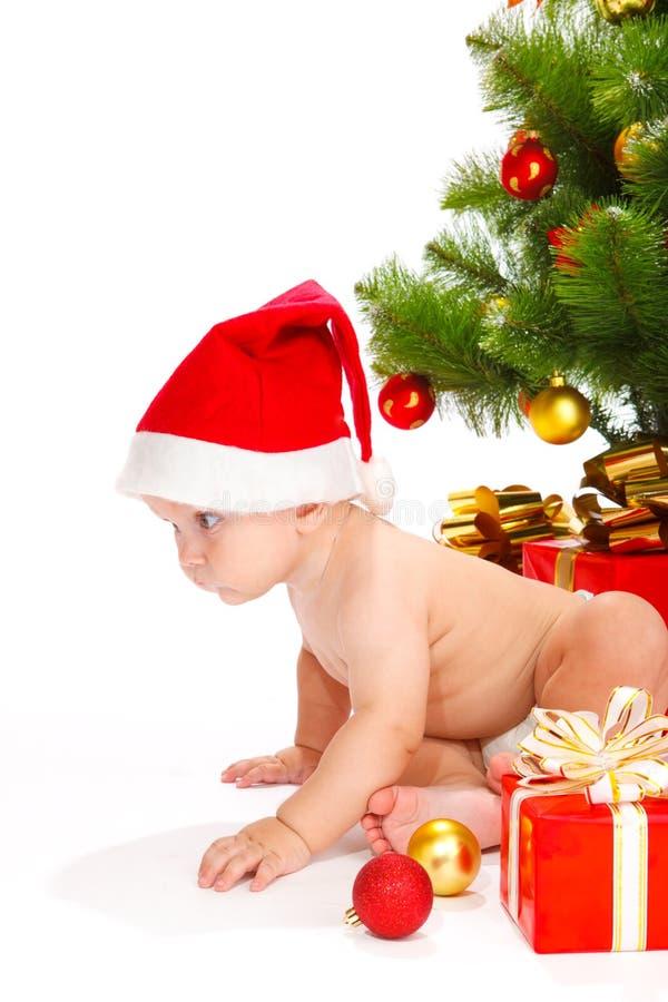 Kind im Cristmas Hut stockfoto