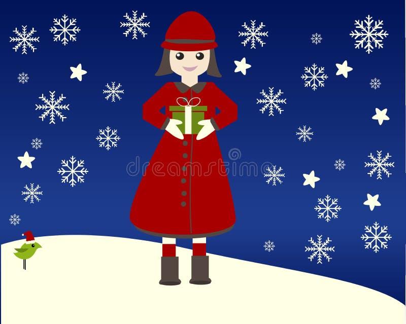 Kind im Schnee stock abbildung