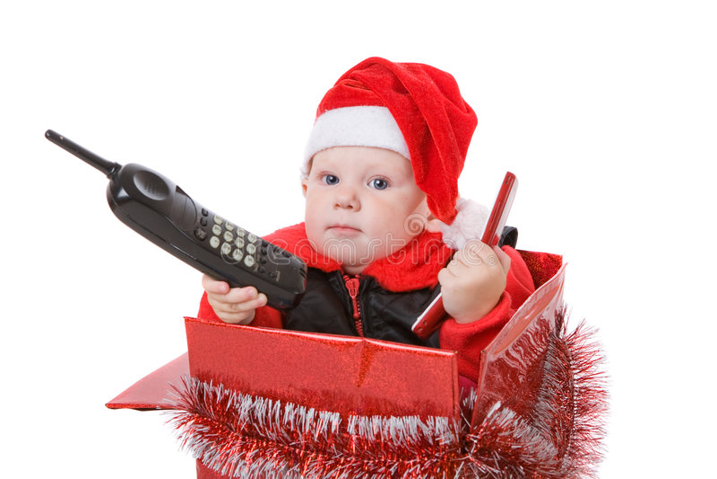 Kind im Weihnachtskasten #2 stockbilder