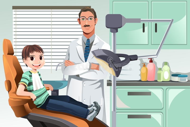 Kind im Zahnarztbüro vektor abbildung