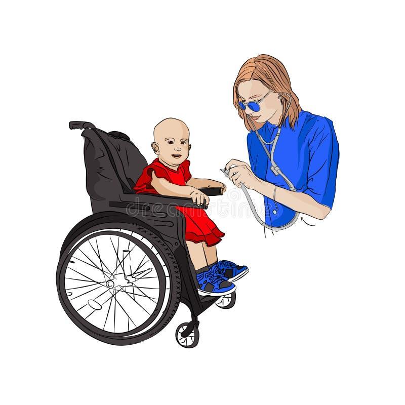 Kind ist behindertes Mädchen an der Aufnahme an lizenzfreie abbildung