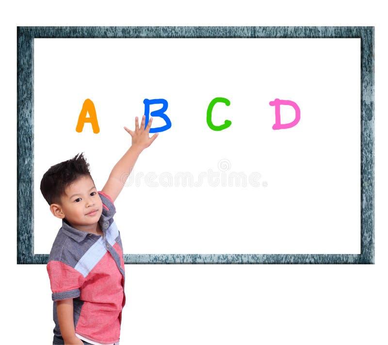 Kind lernen Index auf einem weißen Hintergrund lizenzfreies stockfoto
