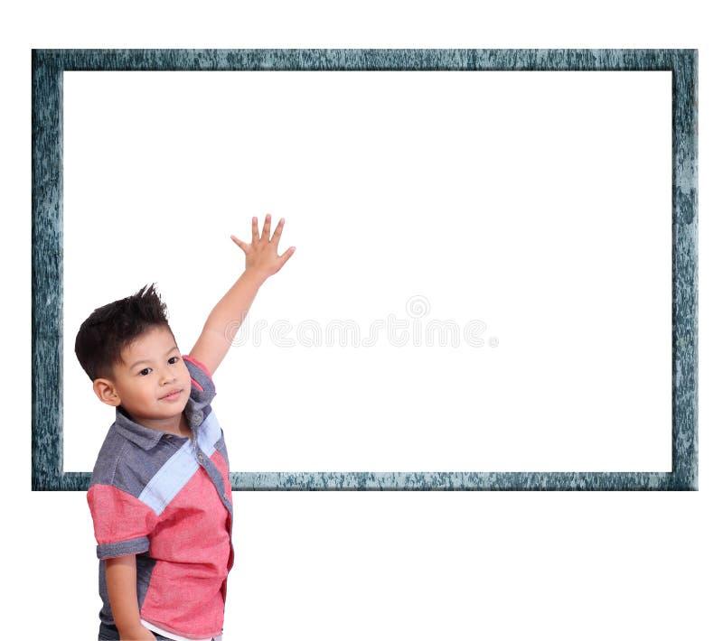 Kind lernen Index auf einem weißen Hintergrund stockfotografie