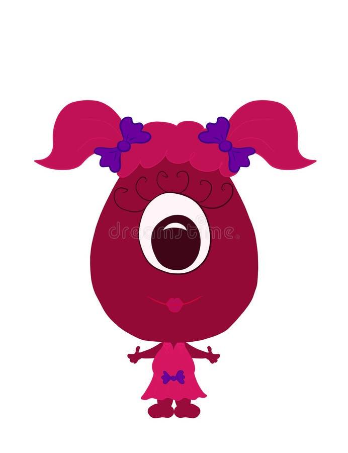 Kind little monster or alien, funny girl royalty free illustration