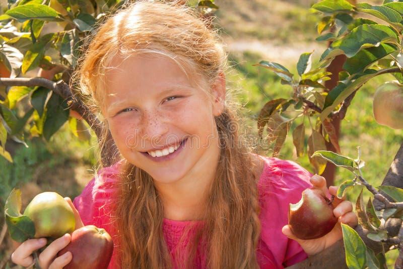 Kind (Mädchen) mit Äpfeln. lizenzfreie stockfotografie