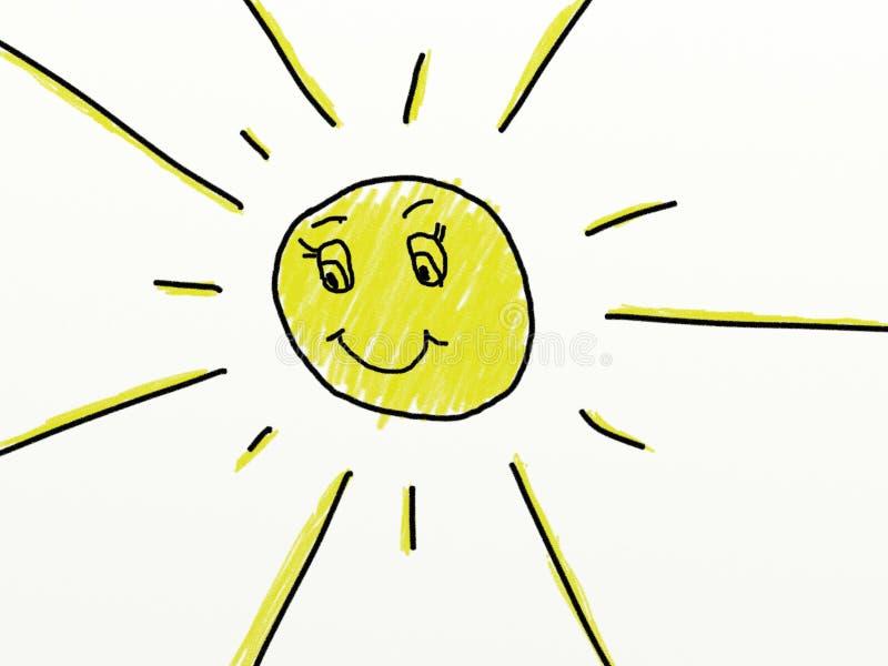 Kind mögen das Zeichnen einer Sonne lizenzfreie abbildung
