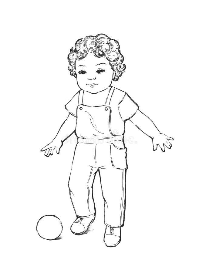 Kind met bal stock illustratie