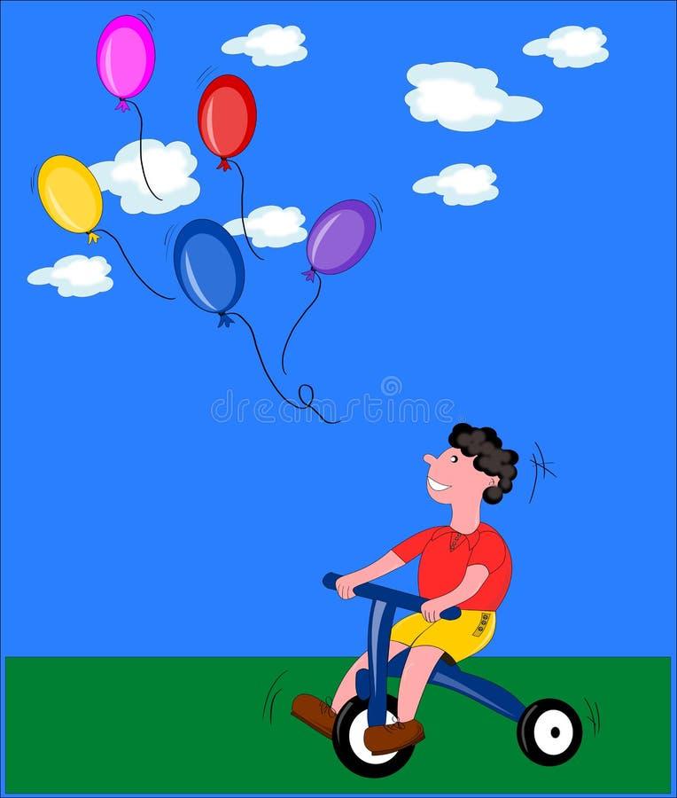 Kind met ballons royalty-vrije illustratie