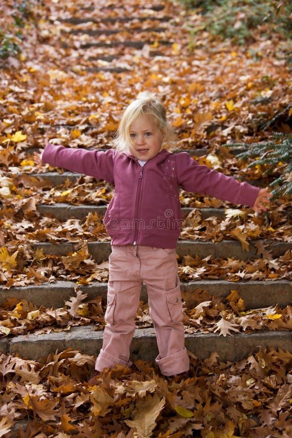 Kind met bladeren royalty-vrije stock afbeelding