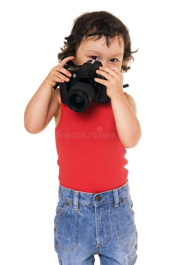 Kind met camera. royalty-vrije stock afbeelding