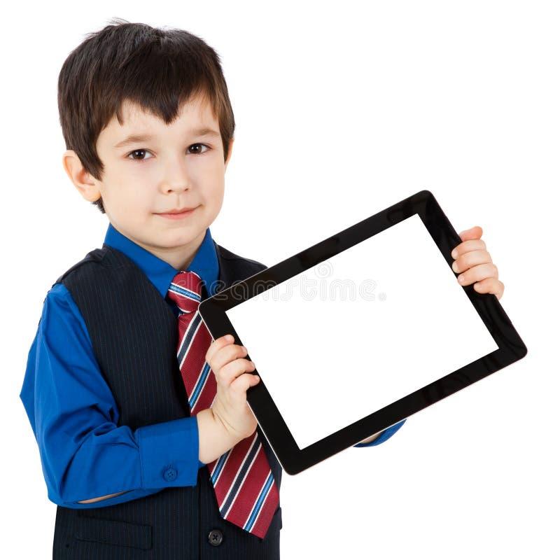 Kind met digitale tablet stock afbeelding