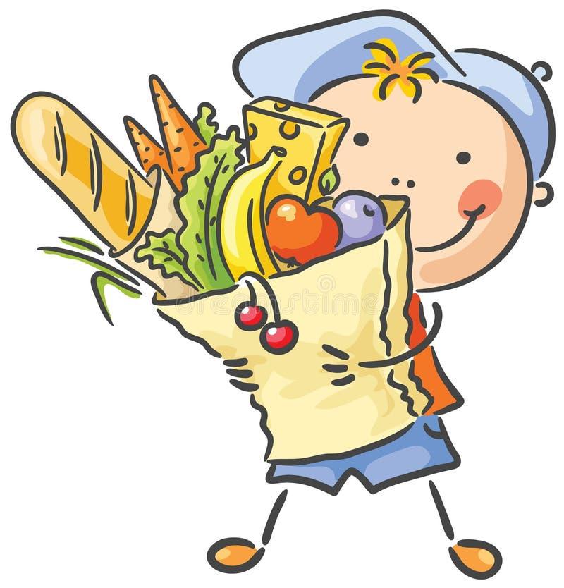 Kind met een groot zakhoogtepunt van voedsel royalty-vrije illustratie