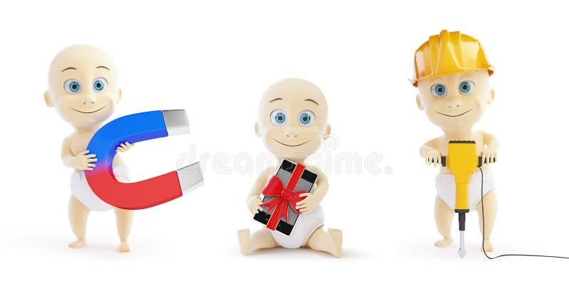 Kind met een magneet, een gifttelefoon, een arbeider met een jackhammer op een witte 3D illustratie als achtergrond, het 3D terug vector illustratie