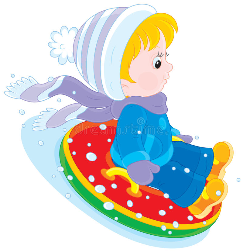 Kind met een opblaasbare sneeuwbuis vector illustratie