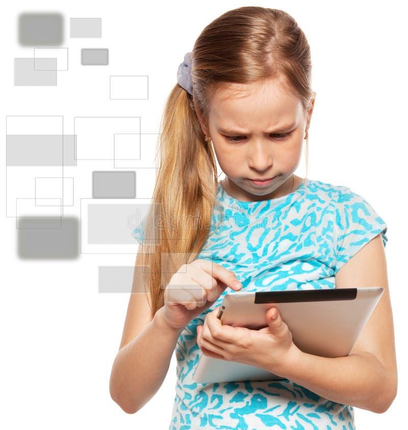 Kind met een PC van de Tablet stock foto