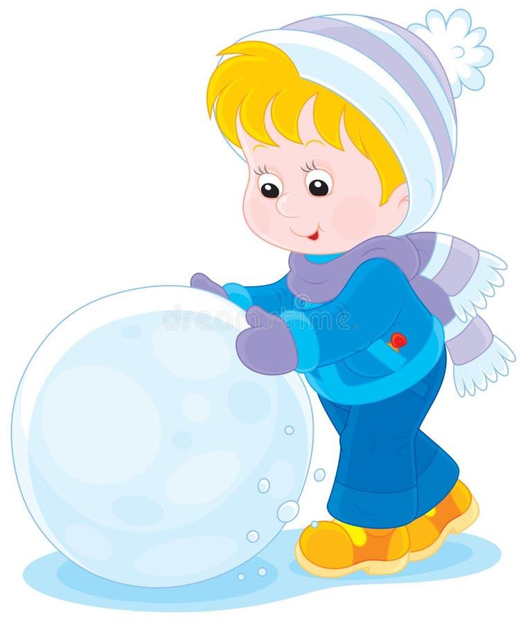 Kind met een sneeuwbal stock illustratie